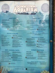 Downtown Aquarium Denver restaurant menu