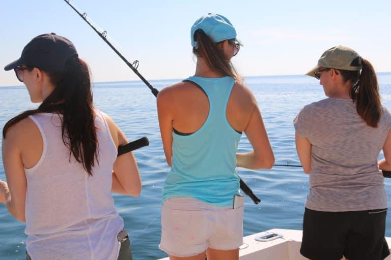 three women Deep Sea Fishing