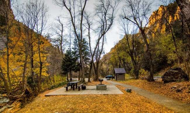Picnic area along fall foliage - Canyon Nature Trail in American Fork Canyon