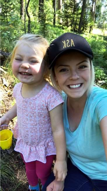 Mother and daughter, Huckleberry picking