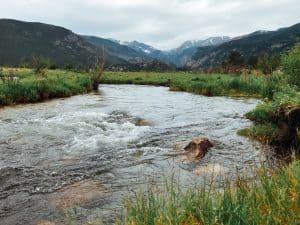 Creek running through Rocky Mountain National Park in Estes Park, Colorado