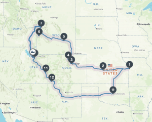 Little Family Adventure Road Trip 2017 - Roadmap to see state and national parks