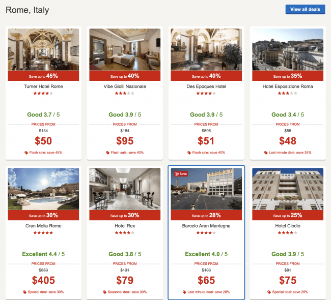 Rates for Rome, Italy hotels on Hotels.com