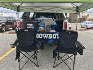 Tailgating set up for the big game