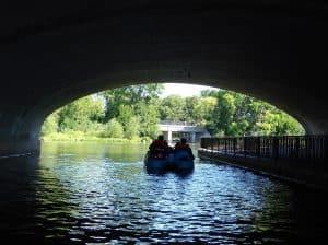 Peddleboats under the bridge