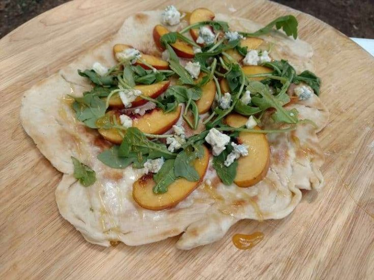Create this Peach & Honey Pizza with an outdoor Dutch Oven