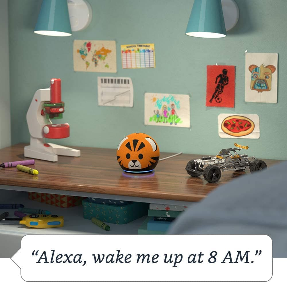 Alexa Dot tiger in boys room