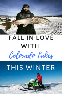 lake, snowmobile, frozen lake, Ice fishing, cross country ski, wind surf, Colorado, Granby, Three lakes Fishing Tournament