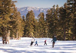 Family Skiing Down Mountain