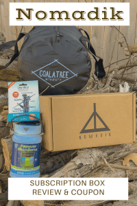 LED/Solar lantern, packable duffle and natural skin care stick inside the Nomadik Sunscription Box
