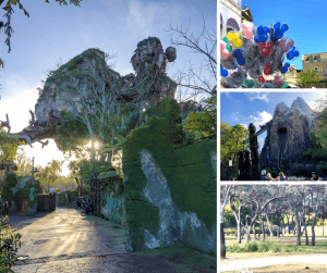 Floating mountains in Pandora at Sunrise, girafees, Mickey balloons, and roller coaster collave