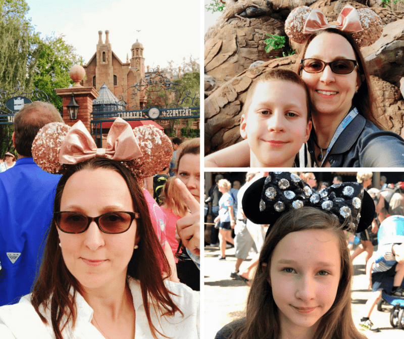 woman and children wearing mouse ears, Disney World
