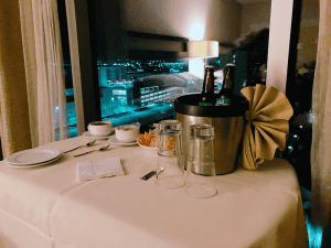 Room Service Cart with Local brews and appetizers from the Anaheim Hilton