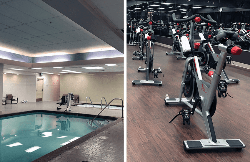 Spin cycles and indoor pool at the Anaheim Hilton