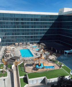 Outdoor pool area at the Anaheim Hilton