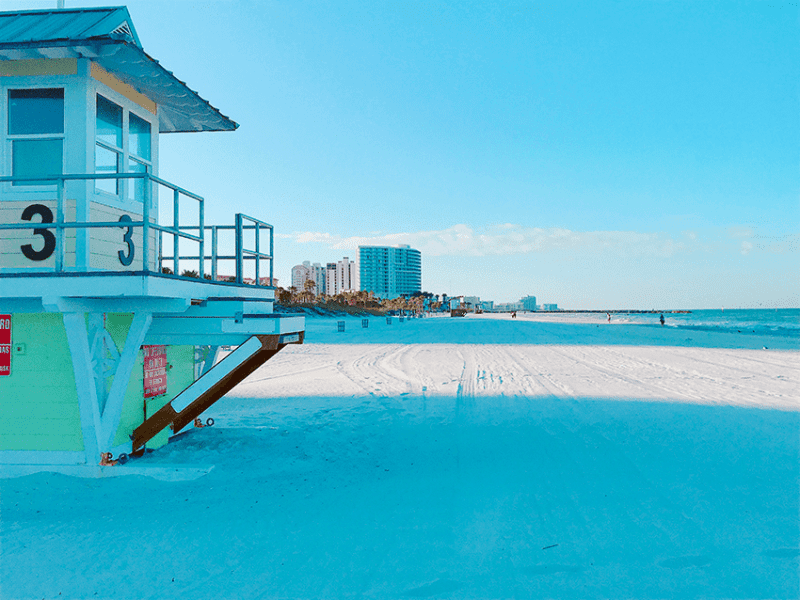 Lifeguard stand on Clearwater Beach Florida