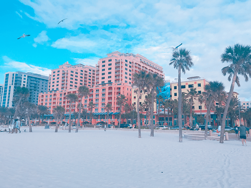 Clearwater Beach and the Hyatt Grand Resort and spa.