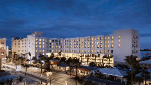 Night time view of the Residence Inn Clearwater - Clearwater Beach Florida is ranked the top US beach by TripAdvisor- Plan your next family vacation and stay at one of these top Clearwater Beach Florida Hotels.