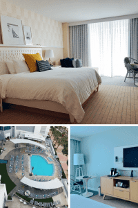 King room, aerial pool view, and room retails at the Wyndham Grand Clearwater Beach Florida