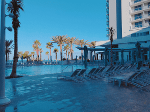 Pool and loungers at the Wyndham Grand Resort
