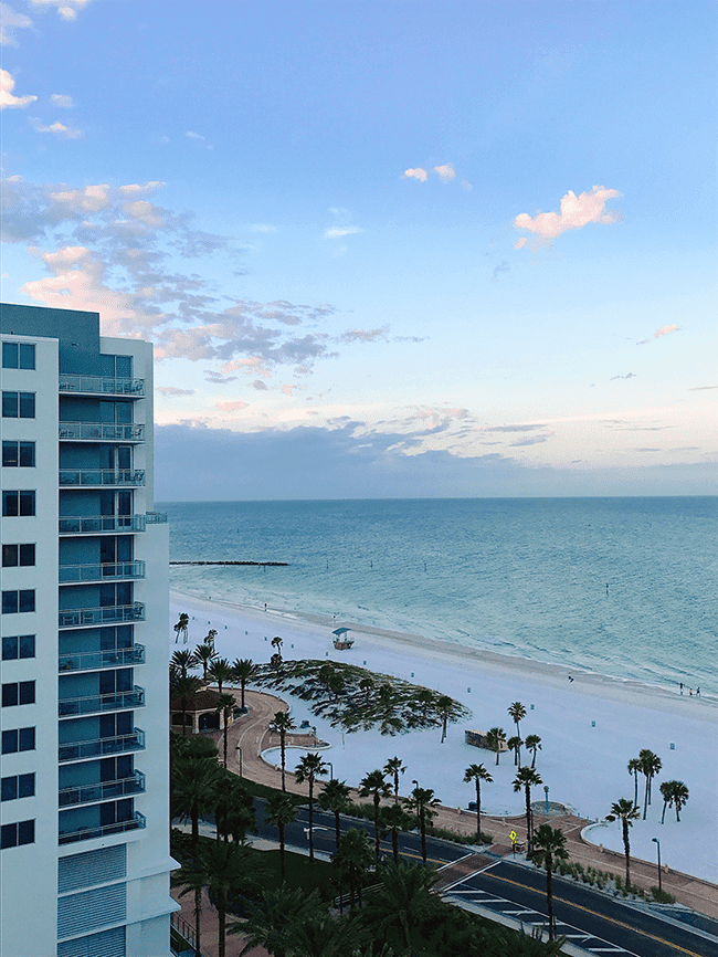 View of the Gulf of Mexico from a Wyndham Grand balcony in Clearwater Beach Florida