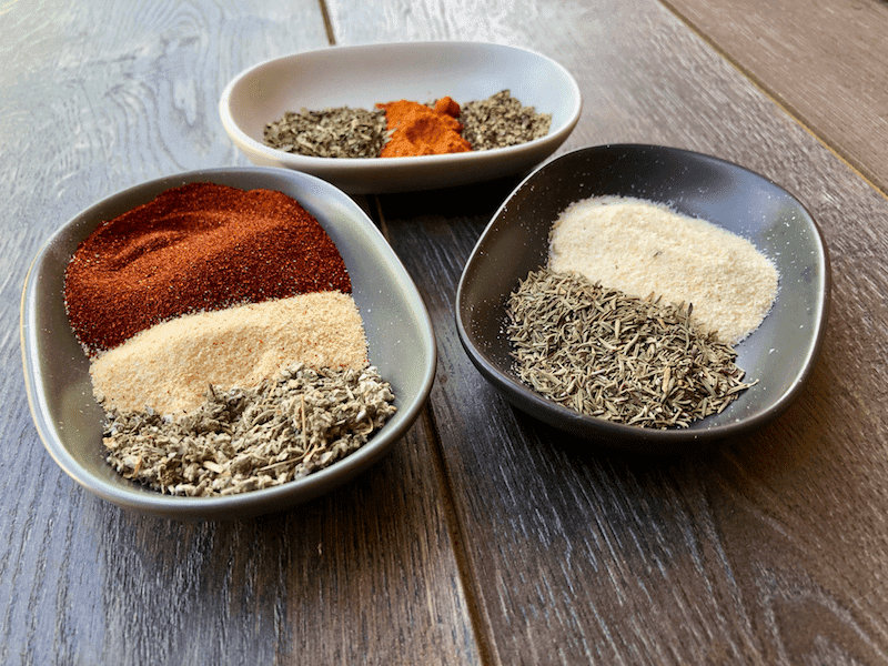 Spices and herbs needed to make homemade blackened seasoning mix
