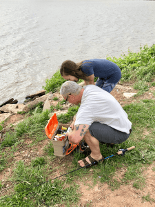 Father and daughter finding the perfect lure for the lake
