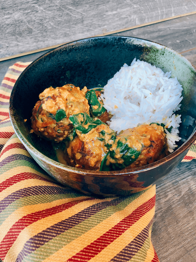 Zucchini and Potato Kofta Curry with Baby Greens over Basmati Rice