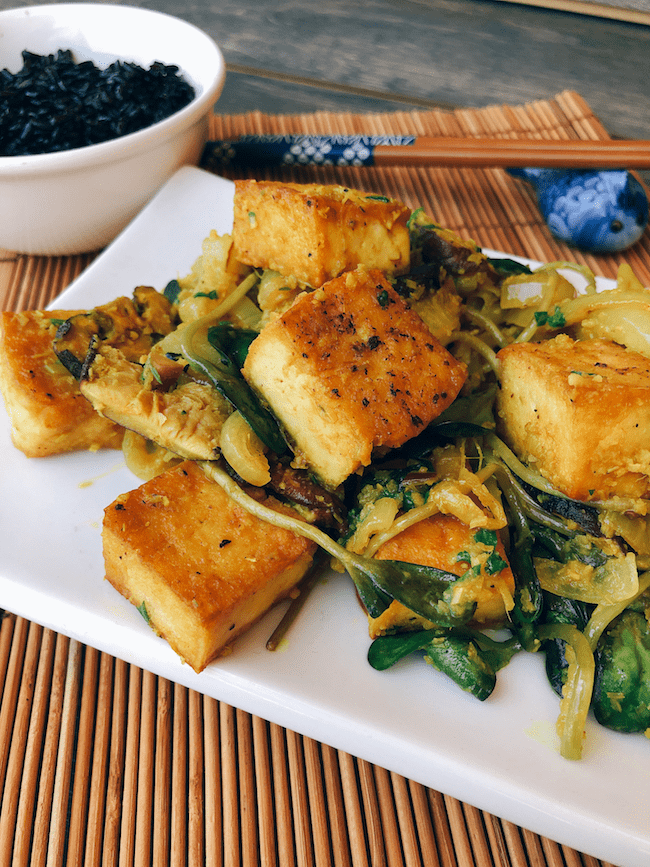 Lemongrass Tofu with Shiitake Mushrooms and Coconut Black Rice