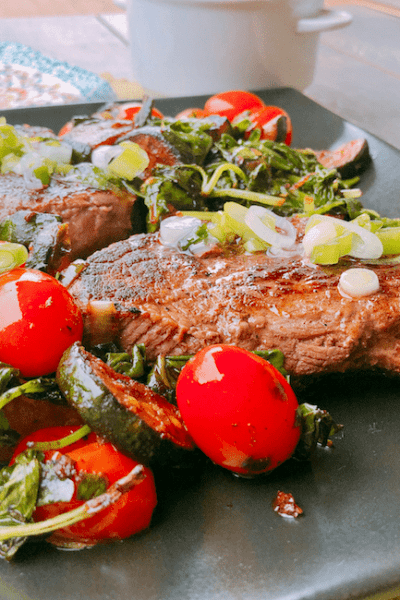 Steak and Charred Vegetables with Basil and Lemon