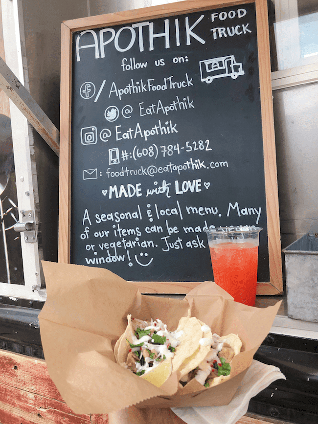 Apothik Food Truck - Green Chile Tacos and Strawberry Melonade