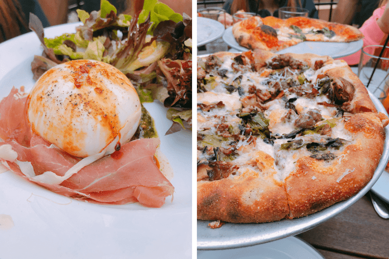 Sausage pizza and Burrata Salad