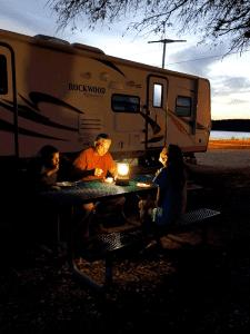 Dinner outside the RV my lantern light