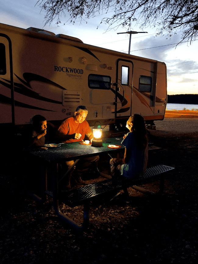 Dinner outside the RV my lantern light