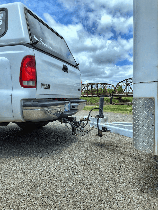 Pick up Hauling a trailer with a B and W truck hitch