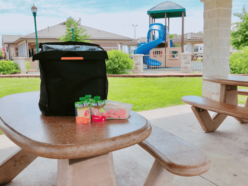 Lunch bag at the park - Road Trip Essentials- Get 25+ tips and a printable packing list to help you plan what to pack for a road trip with the family