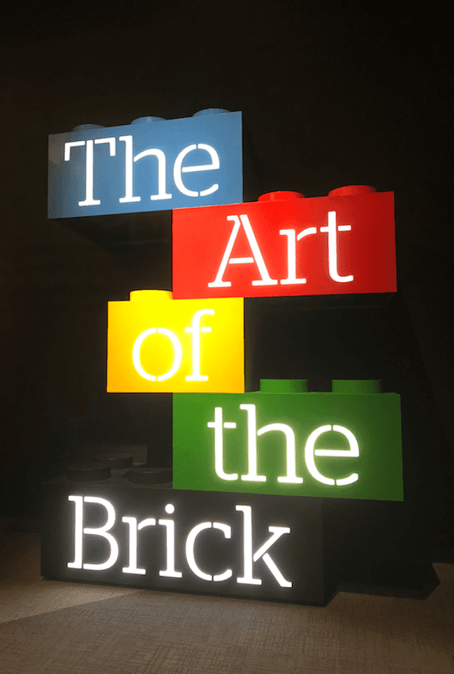 The Art of the Brick sign