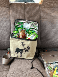 Snacks inside a soft sided cooler for a road trip - Road Trip Essentials- Get 25+ tips and a printable packing list to help you plan what to pack for a road trip with the family