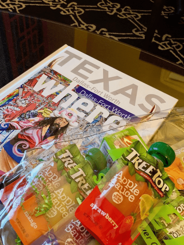 Apple sauce pouches and Fort Worth-Dallas Magazine - Road Trip Essentials- Get 25+ tips and a printable packing list to help you plan what to pack for a road trip with the family