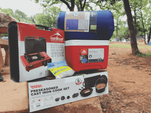Family camping essentials - tent, sleeping bag, cookware, camping stove