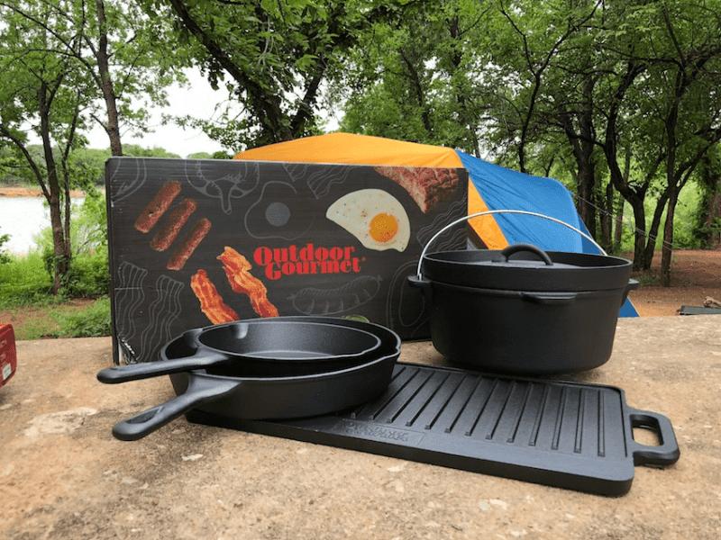 Outdoor Gourmet 5 piece cast iron camping cookware set