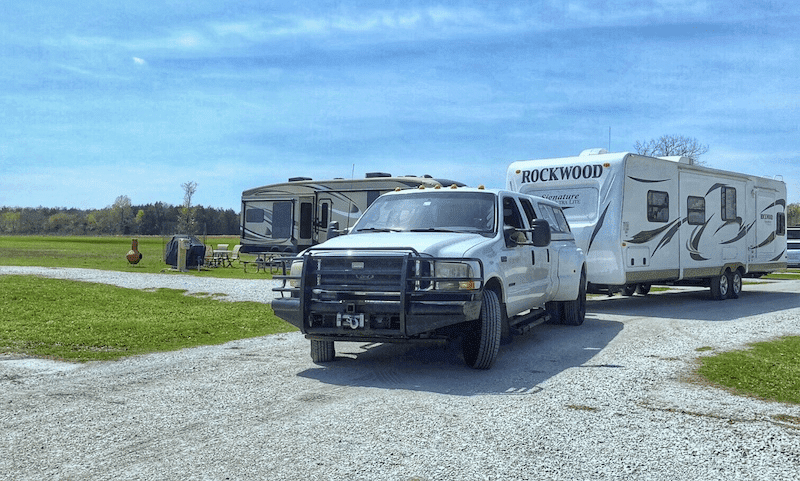 Truck hauling an RV
