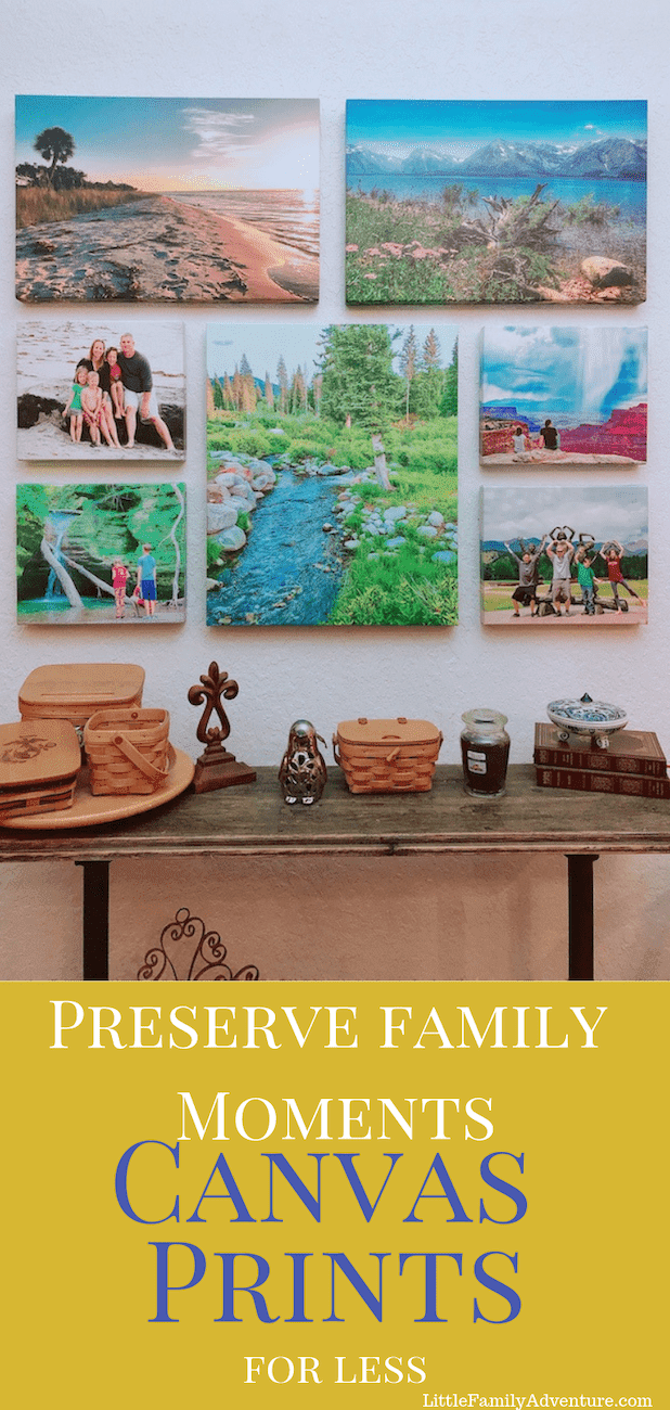 Showcase your favorite family moments and travel memories. I preserve my moments with canvas art prints. See where I get cheap canvas prints online that loo better than the pictures I take. #giftideas #photogallery #picturegallery #canvasprints #cheapcanvasart