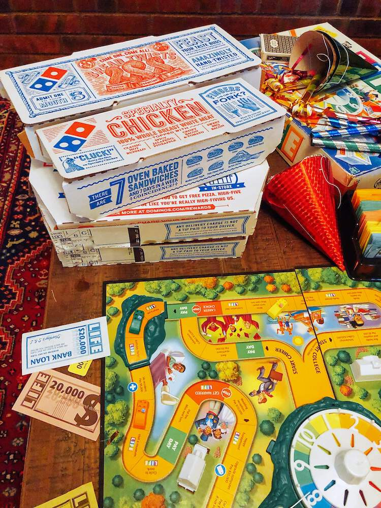 Family Game Night with Domino's pizza