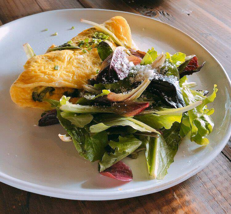 Mixed greens and omelette