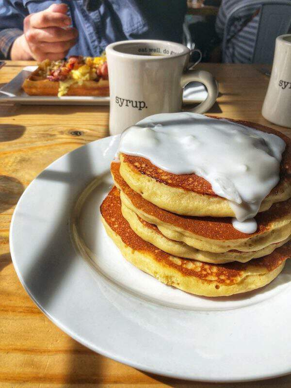 Cinnamon Roll Pancakes - best brunch in OKC