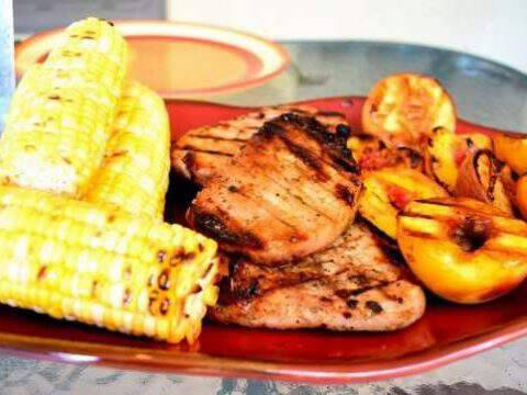 Spicy Grilled Pork Chops with Cinnamon Peaches
