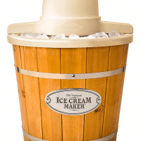 Nostalgia ICMP400WD Electric Wood Bucket Ice Cream Maker 4-Quart Brown