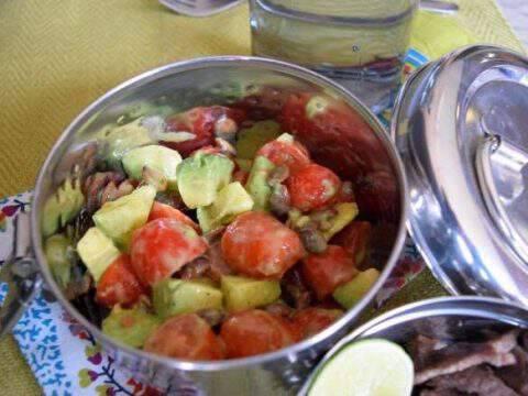 Simple Tomato Avocado Salad with Cilantro Lime Vinaigrette
