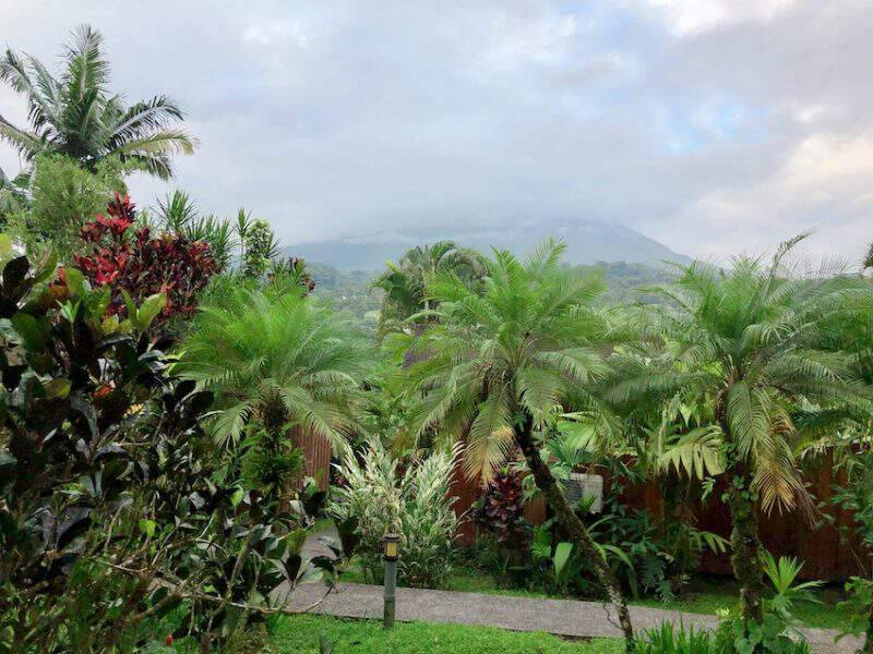 View of a cloud covered Arenal